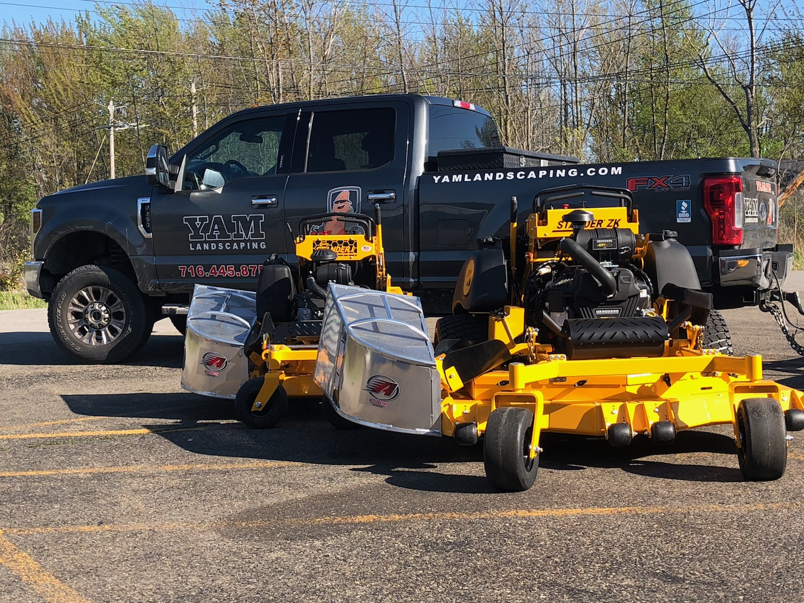 Truck and mowers
